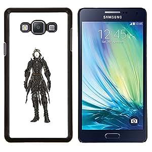 YiPhone /// Prima de resorte delgada de la cubierta del caso de Shell Armor - blanco pintura negro personaje del héroe - Samsung Galaxy A7 A7000