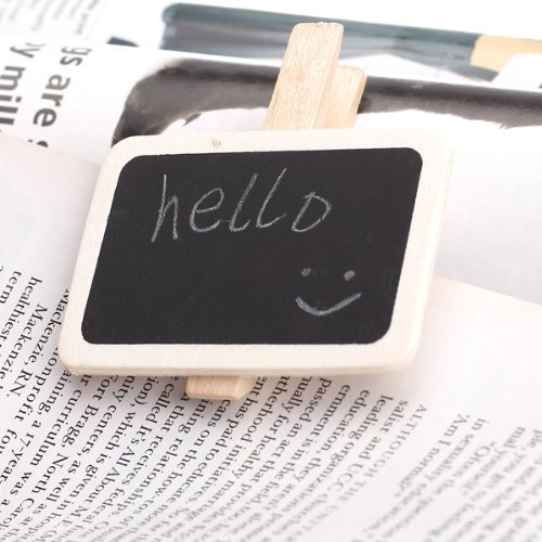 SODIAL(R) 10Pcs Cute Mini Message Wooden Blackboard Note Photo Paper Clips, Ideal for Decor Use