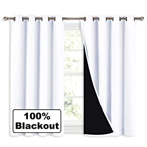 "NICETOWN White 100% Blackout Curtains 45 Inches Long, 2 Thick Layers Completely Blackout Window Treatment Thermal Insulated Lined Drapes for Small Window (1 Pair, 52"" Width Each Panel)"