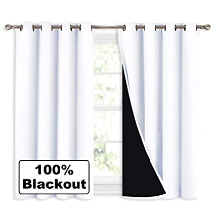 Amazoncom Nicetown White 100 Blackout Curtains 45 Inches Long 2