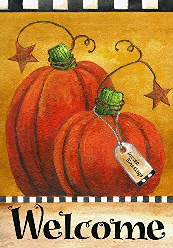 Pumpkin Autumn Welcome Primitive Garden Flag Fall Briarwood