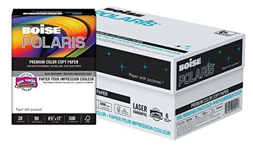 """Price comparison product image BOISE POLARIS PREMIUM COLOR COPY PAPER, 8 1/2"""" x 11"""", Letter, 98 Bright White, 28 lb, 3000 Sheets/Carton, 40 Cartons/Pallet"""
