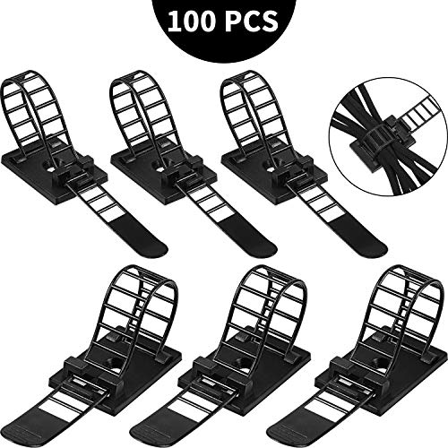 100 Pieces Adjustable Self-Adhesive Cable Straps Nylon Cable Ties Self-Adhesive Cable Organizers for Wire Management, Large and Small