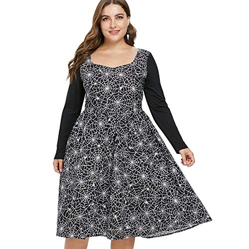 Leomodo Plus Size Halloween Long Sleeve Spider Web Vintage Dress Black -