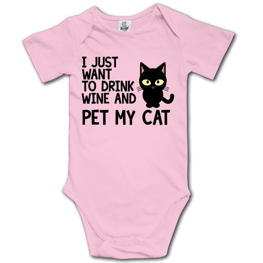 Haibaba I 2Want to Drink Wine and Pet My Cat Infant Climbing Short-Sleeve Jumpsuit