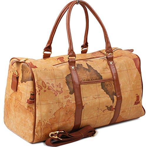 InterestPrint Unisex Duffel Bag Carry-on Bag Overnight Bag Weekender Bag World Map