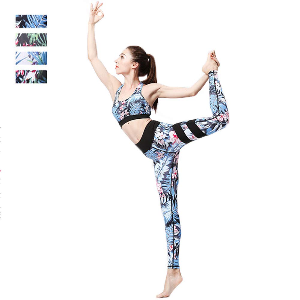B Yoga Clothing Female Fitness TwoPiece Printing QuickDrying Sports Bra Tights High Waist Flexible Sports Fitness