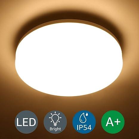 LOUX Lámpara LED de Techo 15W Impermeable IP54 Super brillante 1250LM 3000k Blanco Cálido Luz de techo Ideal para Sala de Estar, Cocina, Balcón, ...