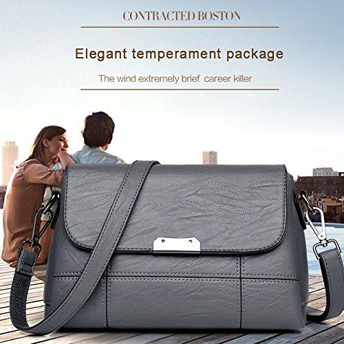 Yoome suave de gran capacidad de la aleta bolsa de bolsillo multi bolsos de la vendimia para los adolescentes Womens Messenger Bag - Champagne champán