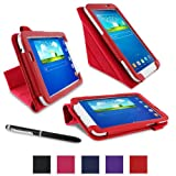 "rooCASE Samsung Galaxy Tab 3 7.0 Case - Origami PU Leather 7-Inch 7"" Cover with Landscape, Portrait, Typing Stand, Stylus - RED"