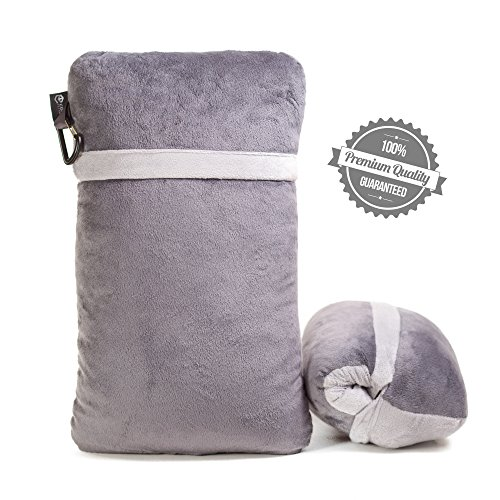 Compact Travel Pillow Made with Shredded Memory Foam and Super Soft Fleece Fabric