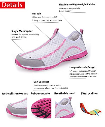 Scarpe Acqua Womens Womens Asciugatura Rapida Scarpe Aqua Scarpe Da Piscina Sulla Spiaggia Scarpe Da Ginnastica Leggere Scarpe Da Ginnastica Leggere Slip On Pink