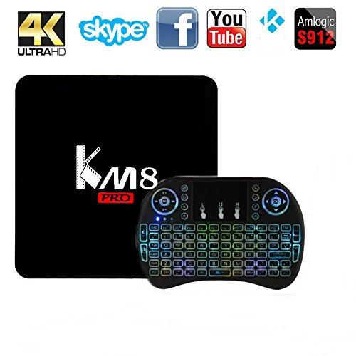 Android 6.0 TV Box,MaQue KM8 PRO Amlogic S912 2G RAM 8G Flash Smart Media Player TV Box Octa Core Smart 4K TV BOX