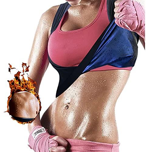 Women's Workout Tank Top Sauna Vest Sweat Enhancing Waist Trainer Slimming Body Shaper Gym Fitness Polymer Shirt,Black,L…