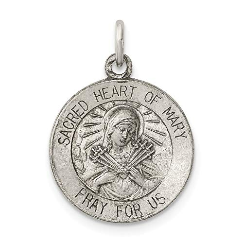 925 Sterling Silver Sacred Heart Of Mary Medal Pendant Charm Necklace Religious Fine Jewelry Gifts For Women For Her ()