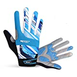Ophelia Outdoor Unisex Cycling Mountain Bike Bicycle Road Long Full Finger Gloves(Blue,M)