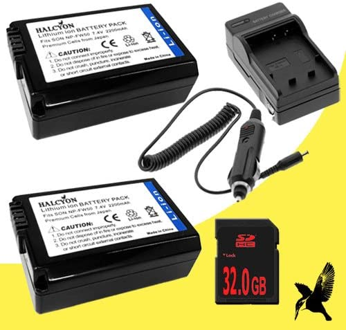 Two Halcyon 1600 mAH Lithium Ion Replacement Battery and Charger Kit 32GB SDHC Class 10 Memory Card for Sony Alpha NEX-5T Mirrorless Digital Camera and Leica BP-DC 12