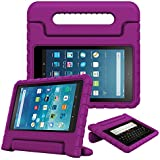 Fintie Case for All-New Fire HD 8 Tablet (7th and 8th Generation Tablets, 2017 and 2018 Releases) - [Kids Friendly] Shock Proof Light Weight Convertible Handle Stand Protective Cover, Purple