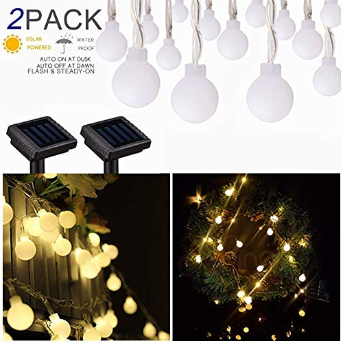 kinna Solar Outdoor String Lights - 2 Pack 30ct Frosted Globes Warm White LED House Decoration Fairy Strings for Holiday Party Outdoor Garden Patio (String Frosted Lights)