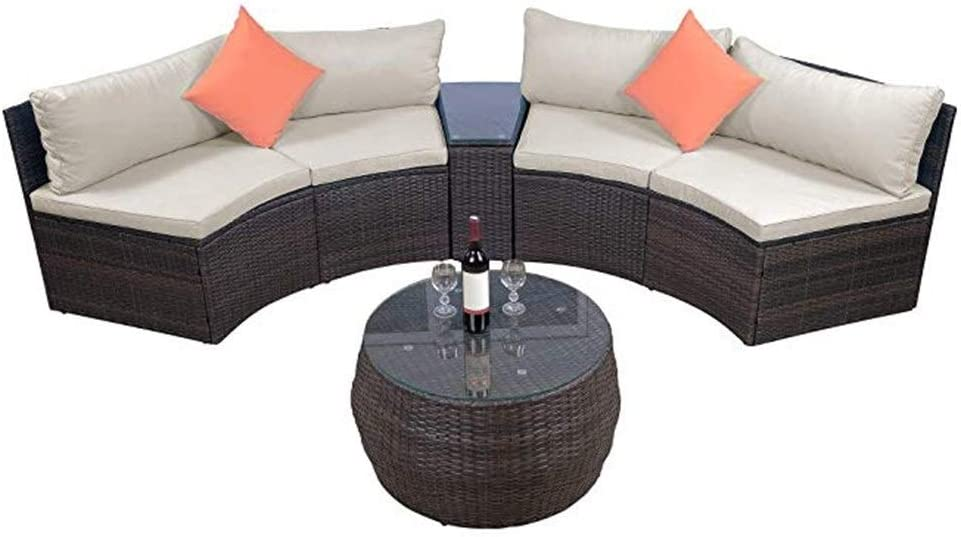XIAOTIAN Outdoor Half-Moon Sectional Furniture Wicker Sofa Set ,6-Piece Patio Furniture Sets, with Two Pillows and Coffee Table, Beige Cushions