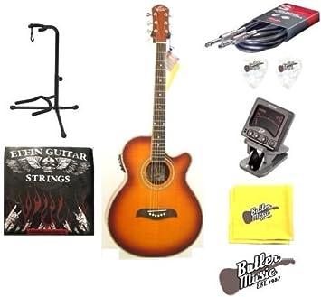 Oscar Schmidt og10cefys llama Sunburst acústica guitarra eléctrica w/púas, cuerdas y más: Amazon.es: Instrumentos musicales