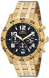Invicta Men's 1491 Chronograph Black Dial 18k Gold Ion-Plated Stainless Steel Watch