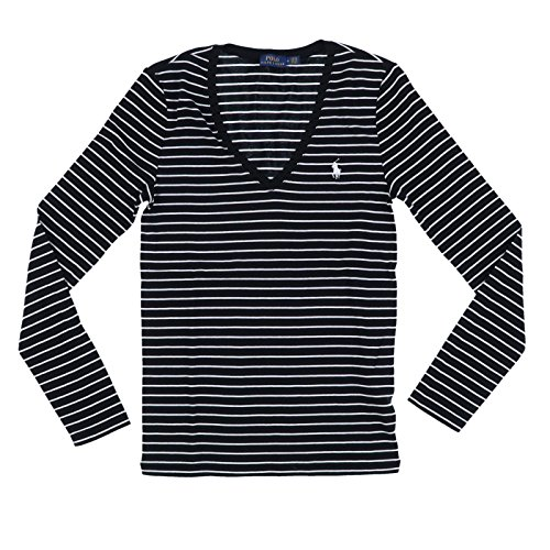 (RALPH LAUREN Polo Women's Long Sleeve Striped V-Neck T-Shirt (Large, Black/White Striped))