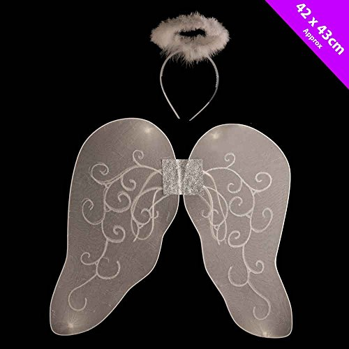 Childrens White Angel Wings and Halo Set - Nativity Costume Accessories - Christmas Fancy Dress/ All Year (Angel Nativity Costumes)