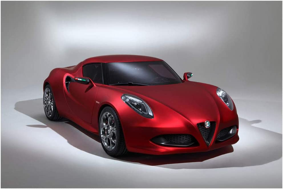 "Alfa Romeo 4c Concept (2011) Car Art Poster Print on 10 mil Archival Satin Paper Red Front Side Static View (24""x36"")"