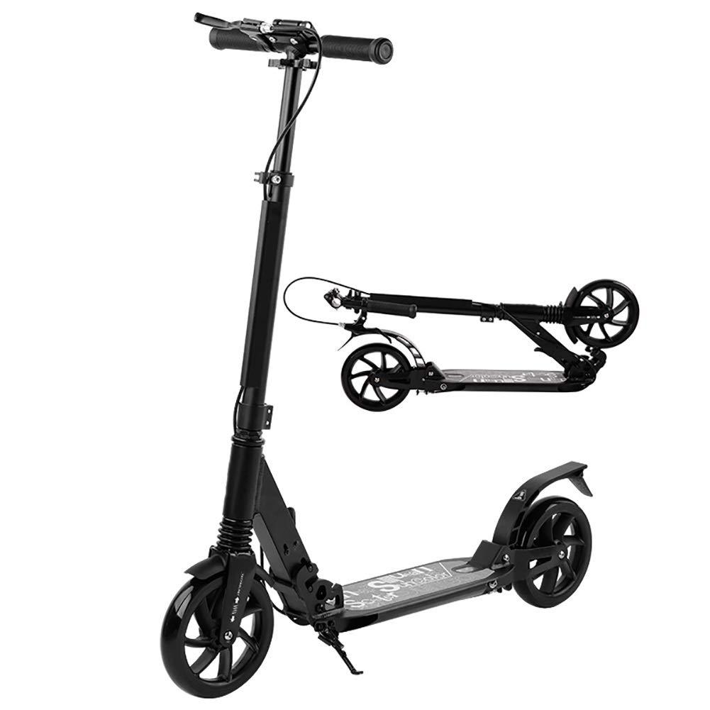 キックスクーター 折り畳み式大人用スクーターディスクブレーキ付き大人用キックスクーター、大きな車輪付き折り畳み式通勤用スクーター、大人/ 10代/子供向けの誕生日プレゼント 黒
