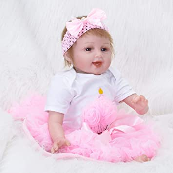 SONGXM Reborn Bebé 22 pulgadas muñeca renace suave vinilo de silicona 55 CM boca magnética camisa blanca falda rosa muñeca de los niños juguetes para niños regalo de cumpleaños de Navidad: Amazon.es: