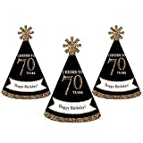 Adult 70th Birthday - Gold - Mini Cone Birthday Party Hats - Small Little Party Hats - Set of 10