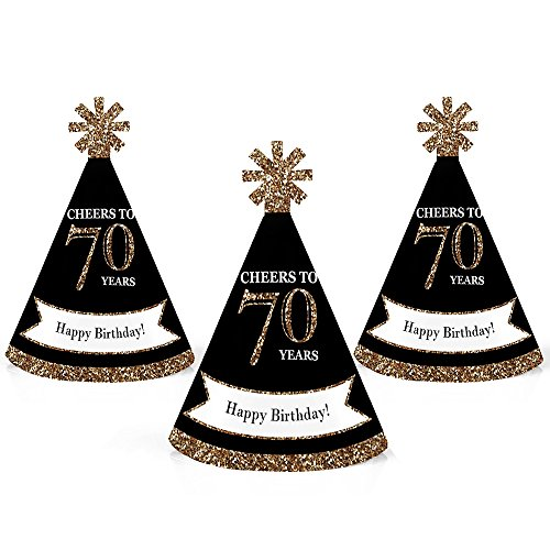 Adult 70th Birthday - Gold - Mini Cone Birthday Party Hats - Small Little Party Hats - Set of 10 by Big Dot of Happiness