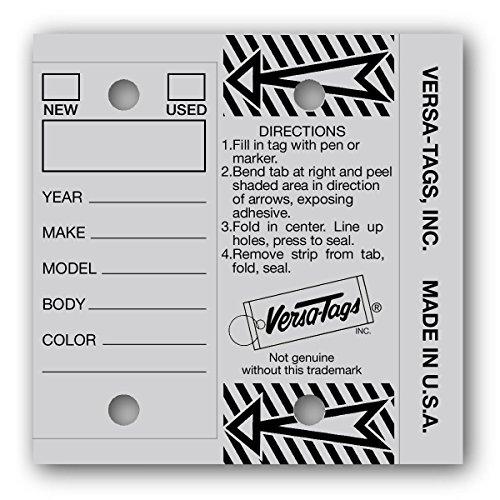 GRAY- Genuine Versa-Tags Key Tags, Self-Protecting (250 tags per box with metal rings)