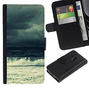 JackGot ( Ola del océano )Samsung Galaxy S3 MINI i8190 (NOT S3) la tarjeta de Crédito Slots PU Funda de cuero Monedero caso cubierta de piel