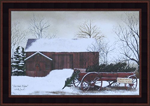Home Cabin Décor Christmas Wagon by Billy Jacobs 15x21 Trees For Sale Red Barn Winter Snow Primitive Folk Art Print Framed Picture
