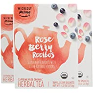 Wickedly Prime Organic Rose Berry Rooibos Tea, Full-Leaf Bags, 15 Count (Pack of 3)