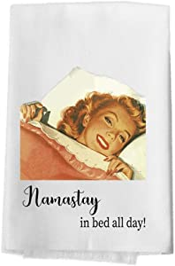 Bailey & Browne Funny Housewives Sassy Sayings, Kitchen Dish Towel Soft Absorbent 100% Cotton Flour Sack Tea Towel (Namastay in Bed)