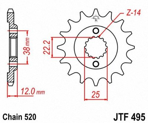 JT Sprockets JTF495.15 15T Steel Front Sprocket