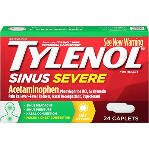 Tylenol Sinus Severe Daytime Caplets with Acetaminophen, Guaifenesin & Phenylephrine HCl, 24 ct ()