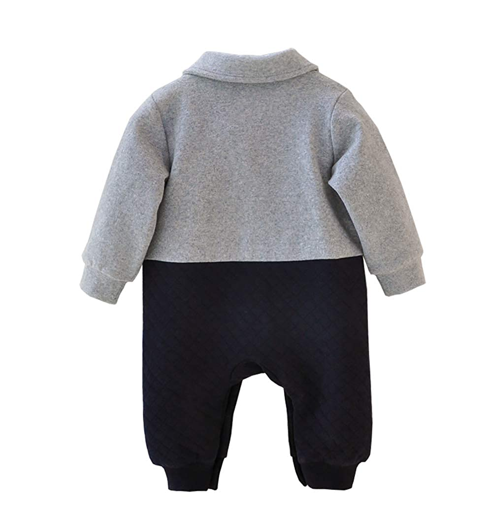 HROUEN Baby Boy Gentleman Outfits One-Piece Cotton Bowtie Overalls Jumpsuit Formal Tuxedo Onesie Clothing Grey
