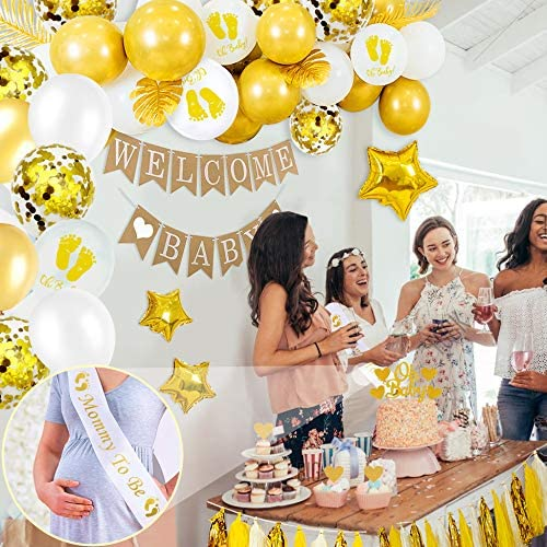 iZoeL Babyparty Babyshower Deko Neutral Welcome Baby Banner Mummy to be Sch/ärpe Oh Baby Torten Topper Wei/ß Gold Konfetti Luftballon Tassel Girlande