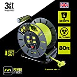 Masterplug 80ft Open Cord Reel with 4 120V / 13 amp