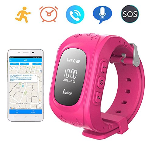 Smart Watch GPS Tracker for Children Two Way Communication GPS LBS AGPS  Location Student/Kids with Pedometer Fitness Q50(Pink)