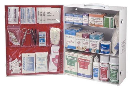 Medique 3-Shelf industrielle à ouverture latérale Cabinet de premiers soins, Rempli # 745M1