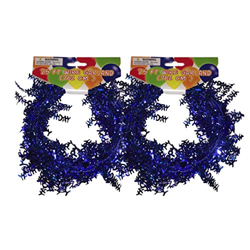Wire Garland - 50 ft (2-25ft) Metallic Party Garland - Happy Birthday, Party Hats & Stars (Blue - Happy Birthday) ()