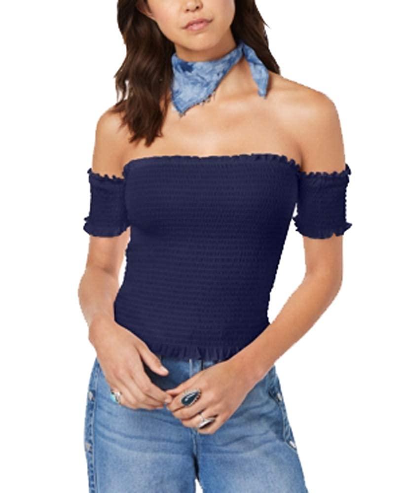 Almost Famous Juniors Smocked Off-The-Shoulder Crop Top