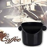 Coffee Knock Box, Large capacity Barista Knock Box Coffee Grind Knock Box for Espresso Grind Waste Bin (Black)