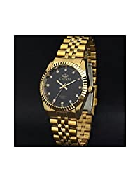 Amyove Fashion Gold Filled Mens Stainless Steel Crystal Watch Analog Quartz Wristwatch Screen: Black