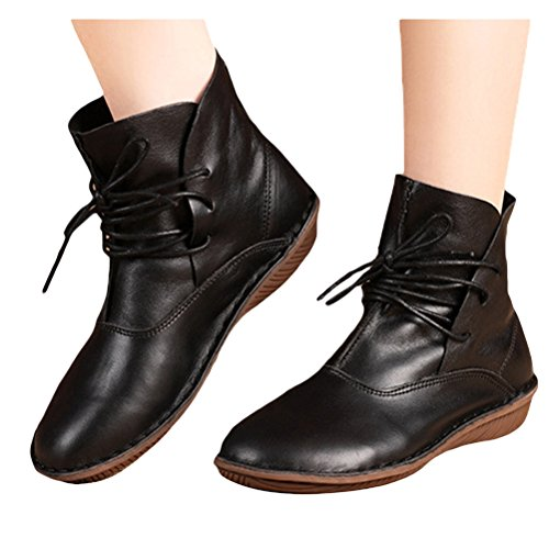 MatchLife match Life Mujer Piel Booties plano Guantes Style3-Black